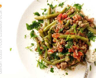 Minced meat with green beans, Dukan in a pan - Φασολάκια με κιμά στο τηγάνι