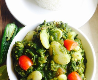 DOUBLE BEANS WITH MINCED CHICKEN IN A SPINACH & DILL FLAVOURED CURRY - GO GREEN