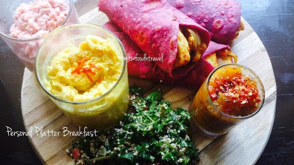 BREAKFAST PERSONAL PLATTER OF TANGY PANEER IN A BEETROOT OATS ROTI WRAP WITH GREEN APPLE DIP, TABBOULEH  AND BHAPA DOI/STEAMED YOGURT -  GOOD HEALTH IN A ZESTY RUBY RED PARCEL TEAMED WITH MOREISH ADD ONS