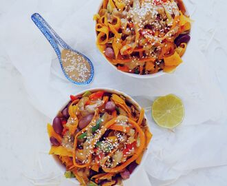 Vegan Sweet Potato Pad Thai with Peanut Butter Soy Sauce