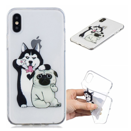 iPhone XS pattern printing soft case - Husky and Shar Pei