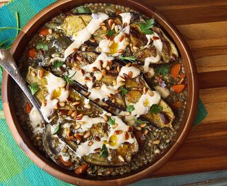 Roasted Eggplant With Tahini, Pine Nuts, and Lentils Recipe