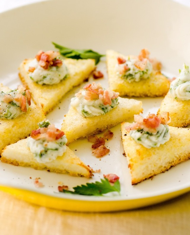 Polenta Toasts with Herbed Ricotta & Bacon