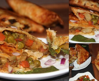 Veg puffs using frozen Parathas