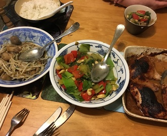 Chinese tonight:  chicken satay, straw mushrooms and beansprouts in oyster sauce and red pepper and cashew stir fry