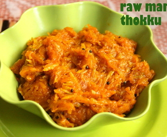 Mango thokku/mavinakayi thokku recipe – how to make grated raw mango thokku recipe