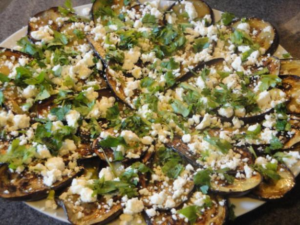 Griddled Marinated Eggplant With Feta and Herbs