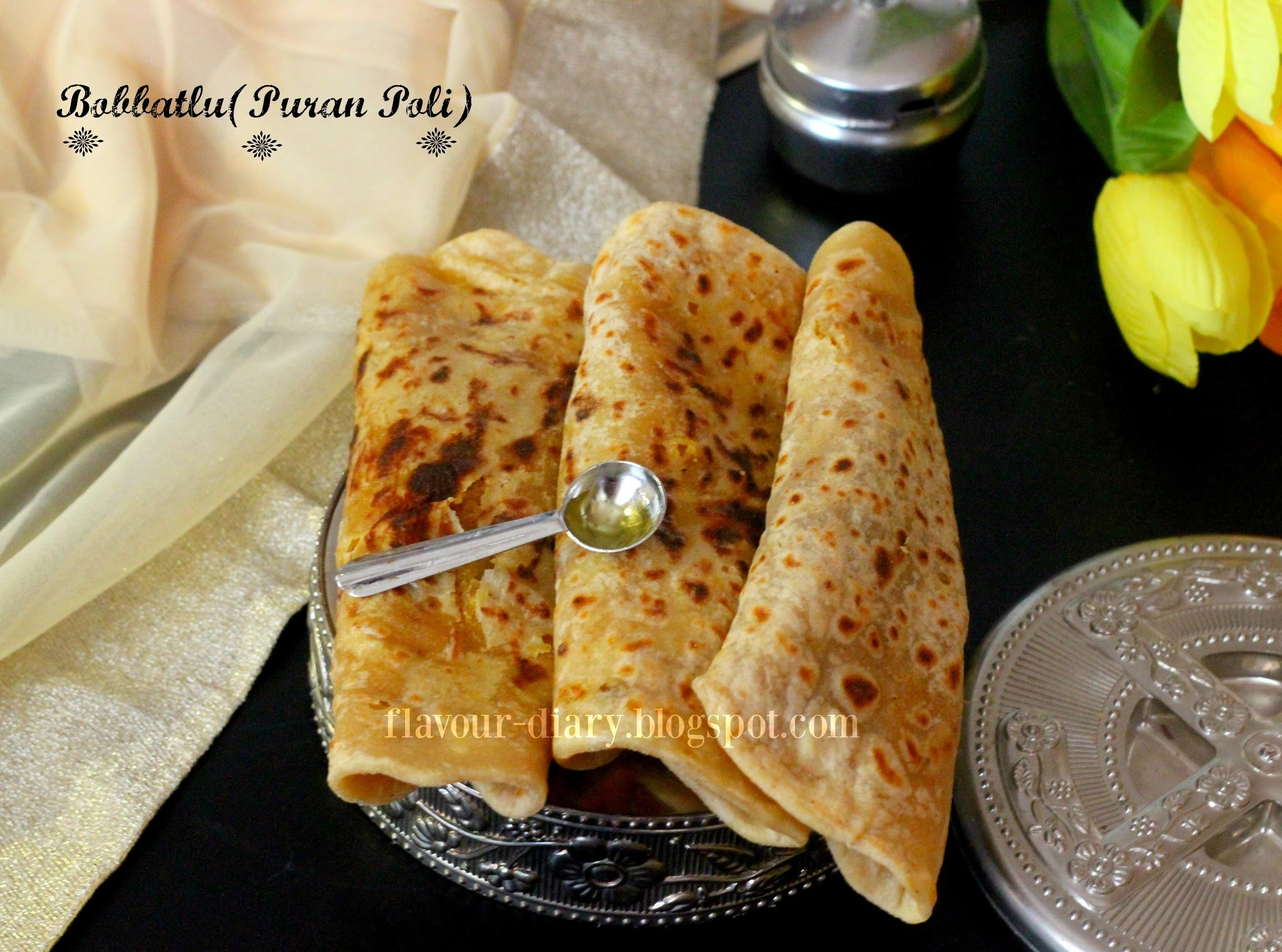 Bobbatlu | Puran poli Recipe | how to make Puran Poli | Flavour Diary