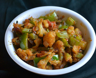 gobi simla mirch subzi - cauliflower capsicum curry