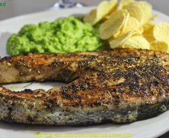 Salmon Fish Steak Served with Mashed Green Peas