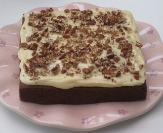 Carrot and Pecan Square Cake with Cream Cheese Icing