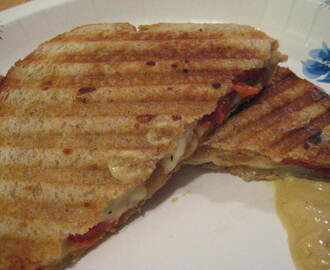 Grilled Cheese with Roasted Onions and Peppers