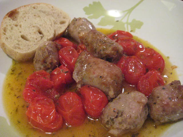 Sweet Cherry Tomato and Sausage Bake