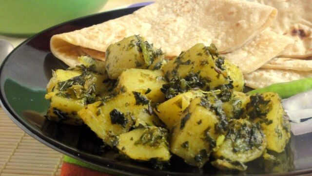 Methi Aloo: Potato with Fenugreek leaves