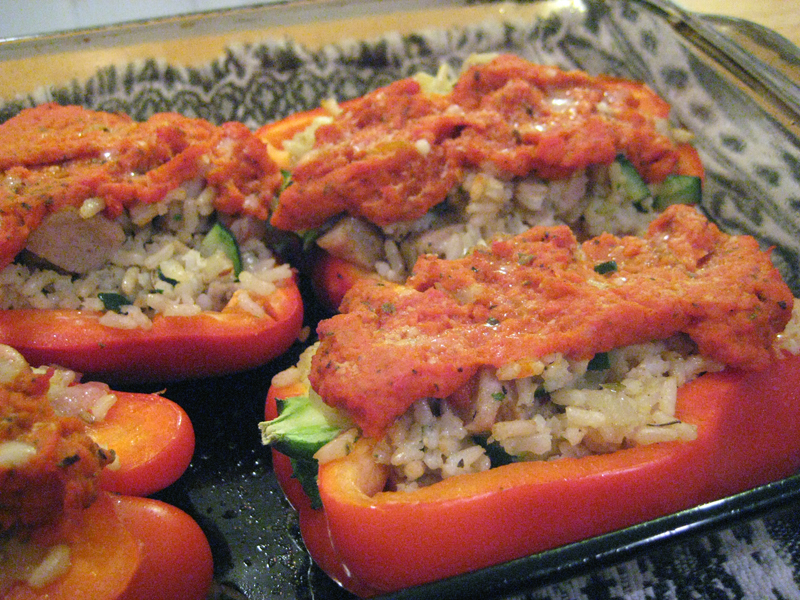 Peppers Stuffed with Chicken Sausage and Brown Rice