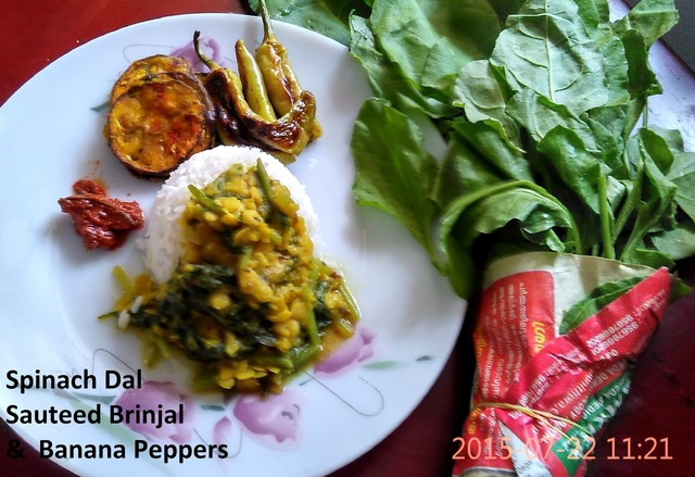 Spinach Dal with Sauteed Brinjal and Banana Peppers, Simple and Comforting