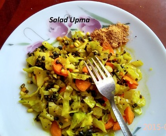 Salad Upma, South Indian Upma with vegetables and sprouts