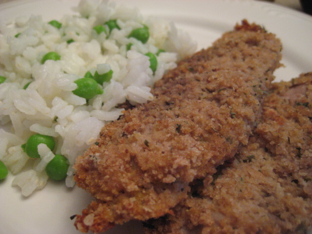 Breaded Pork Chops with Rice and Peas