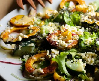 Roasted Squash Salad with Lemony Tahini Sauce + Feta