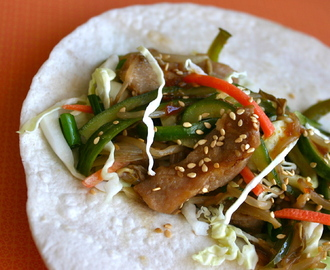 Teriyaki Pork Wraps with Sweet-Hot Cucumbers and Sesame Bean Sprouts