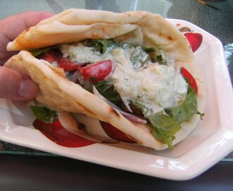 Chicken Souvlaki-Pita's with Cucumber Raita and Short-cut Strawberry Shortcakes