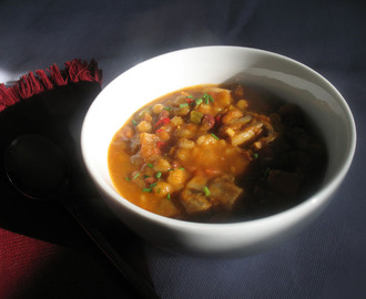 Vegetarian Pumpkin Chili with Azuki Beans, Barley and Mushrooms