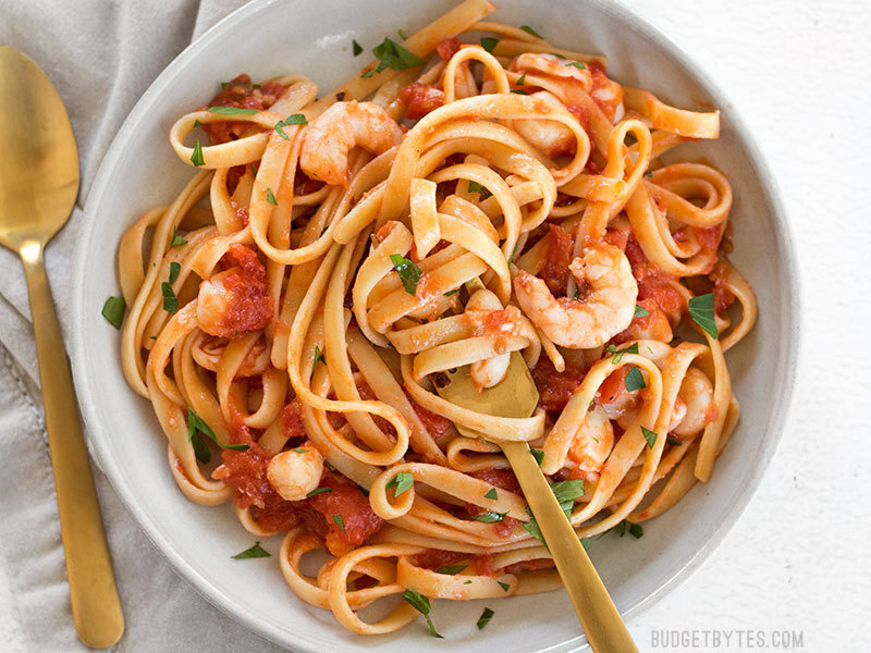 Spicy Seafood Pasta with Tomato Butter Sauce