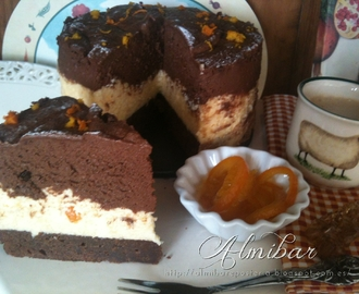 Tarta de brownie, mousses de chocolate y naranja