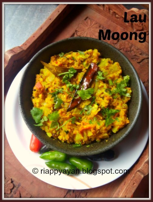 Lau Moong or Bottle gourd cooked with yellow Moong dal/Split Green Gram Dal
