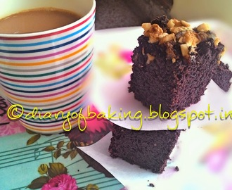March challenge: Extra-nutty dark chocolate fudge brownies (Eggless)