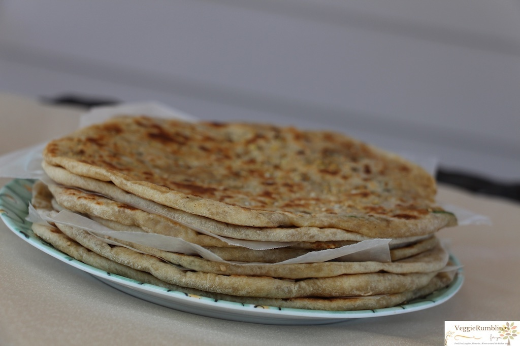 Aloo Kulcha – Wheat flat breads stuffed with spiced potato mix