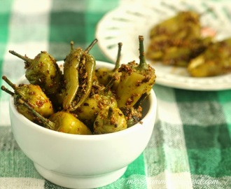 Rai Ki Mirch :Green Chilli Stuffed Pickle: Instant Hari Mirch Ka Achar