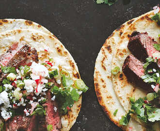 Steak Tacos with Radish and Coriander Salsa
