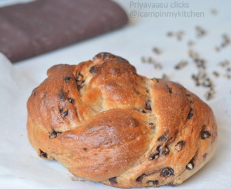 Eggless Chocolate chips Challah - Fire up your Oven, Day 4