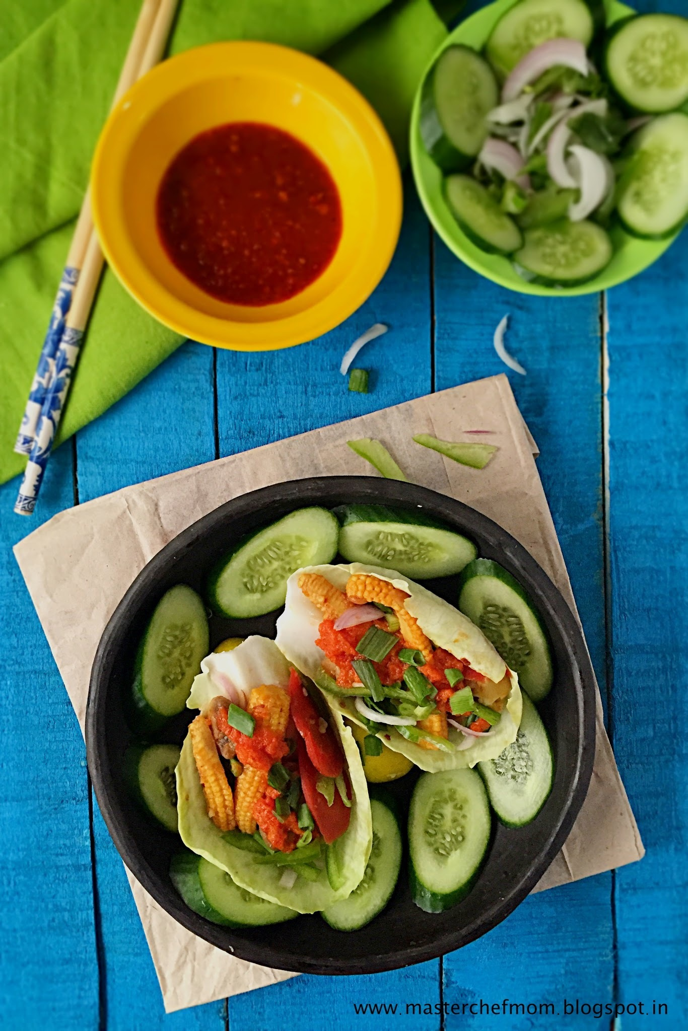 Chinese Tacos (Salad Taco with Hot and Sweet Vegetables ) Fusion Recipe | Gluten Free and Vegan Recipe | How to make Tacos at Home | Stepwise Pictures | Quick and Easy Recipe