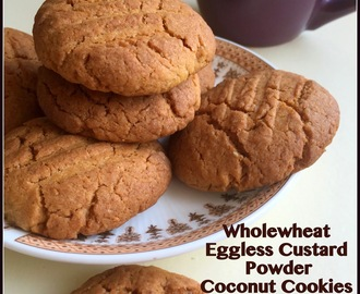 Eggless Wholewheat Custard Powder Coconut Cookies | Day 6 of Baking Marathon