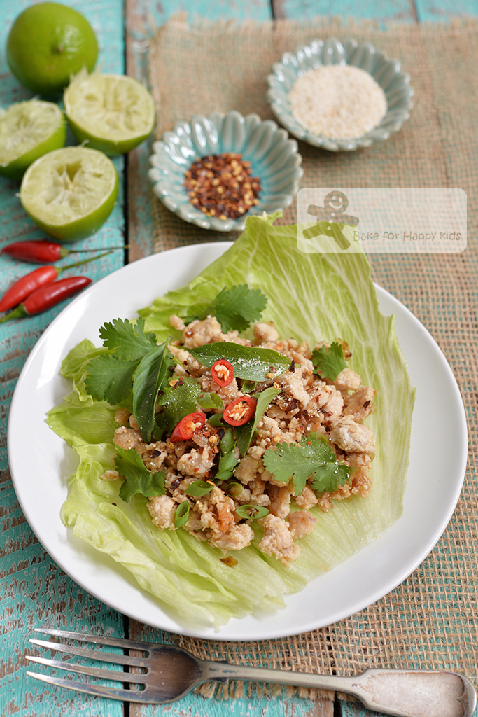 Thai Chicken Salad / larb gai / ลาบไก่ - Easy, Children-friendly and all ready to eat in 30 mins!