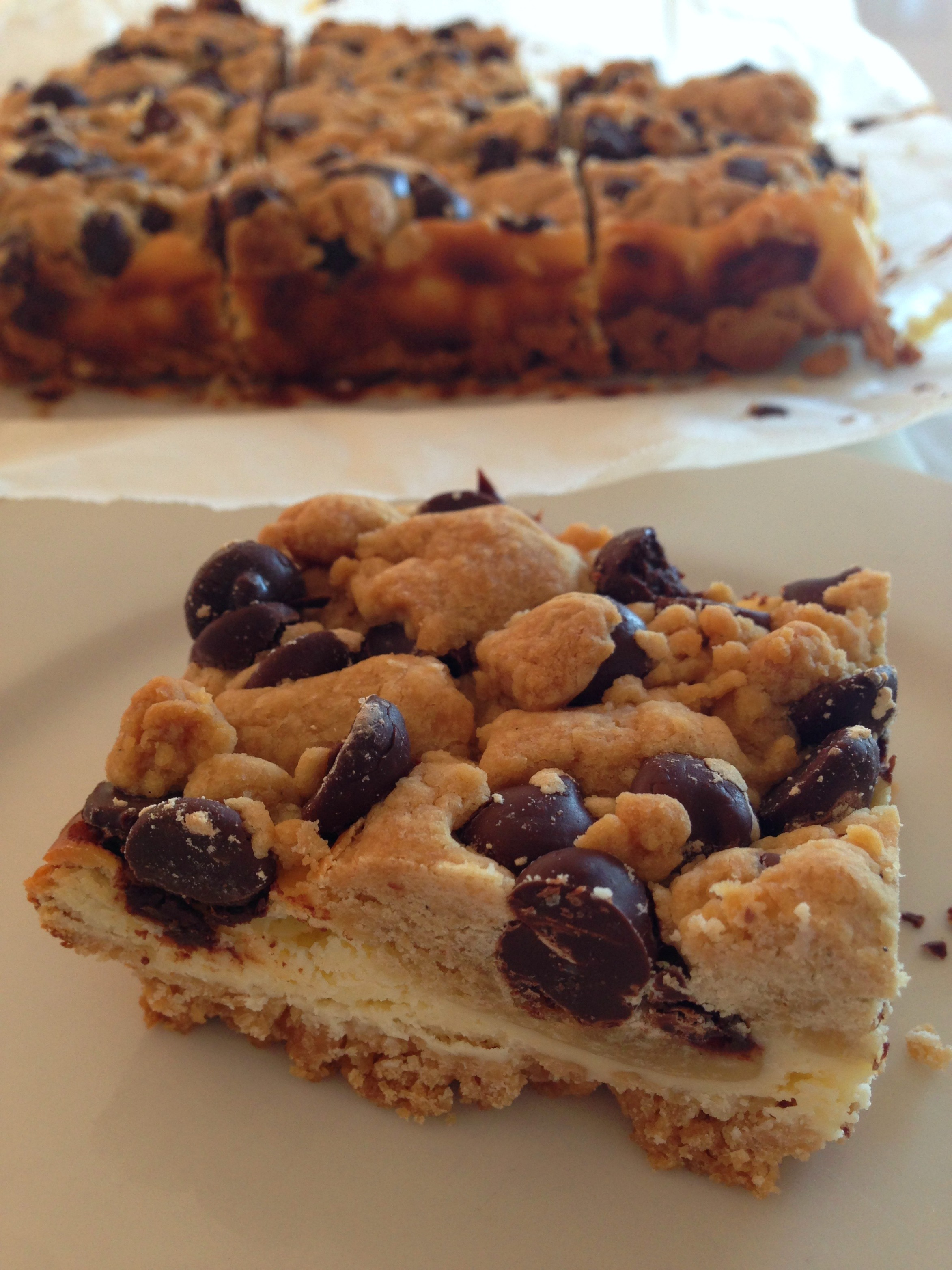Cookie dough chocolate chip cheesecake squares