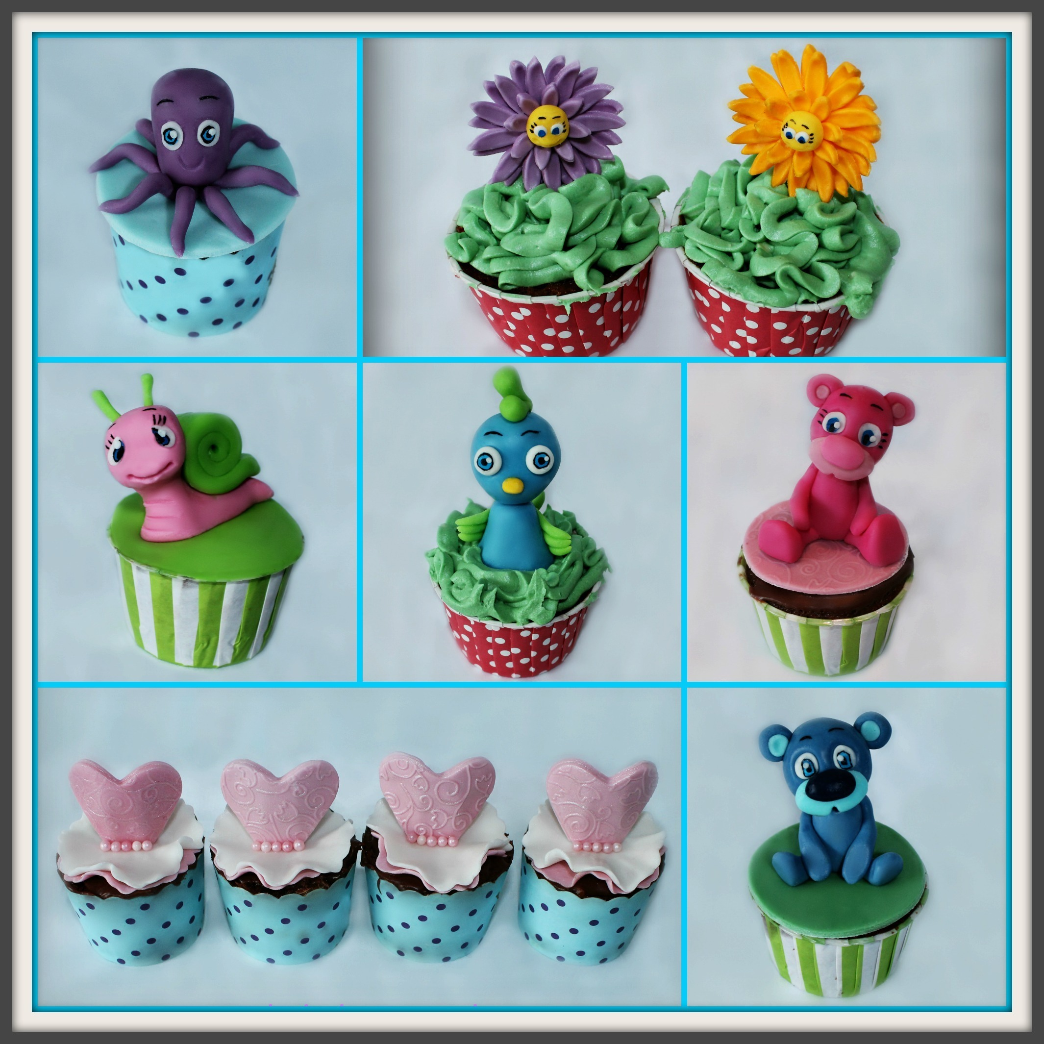 Søte muffins til barnehagefest / Cute cupcakes with fondant animals