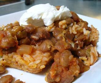Simple Mexican Rice and Bean Bake