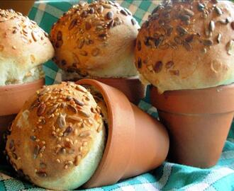 Rustic Flower Pot Bread Loaves or Bread Rolls