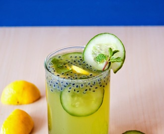 Cucumber mint lemonade with sweet basil Seeds