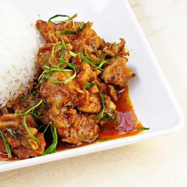 Stir Fried Chicken with Curry Paste and Kaffir Lime Leaves
