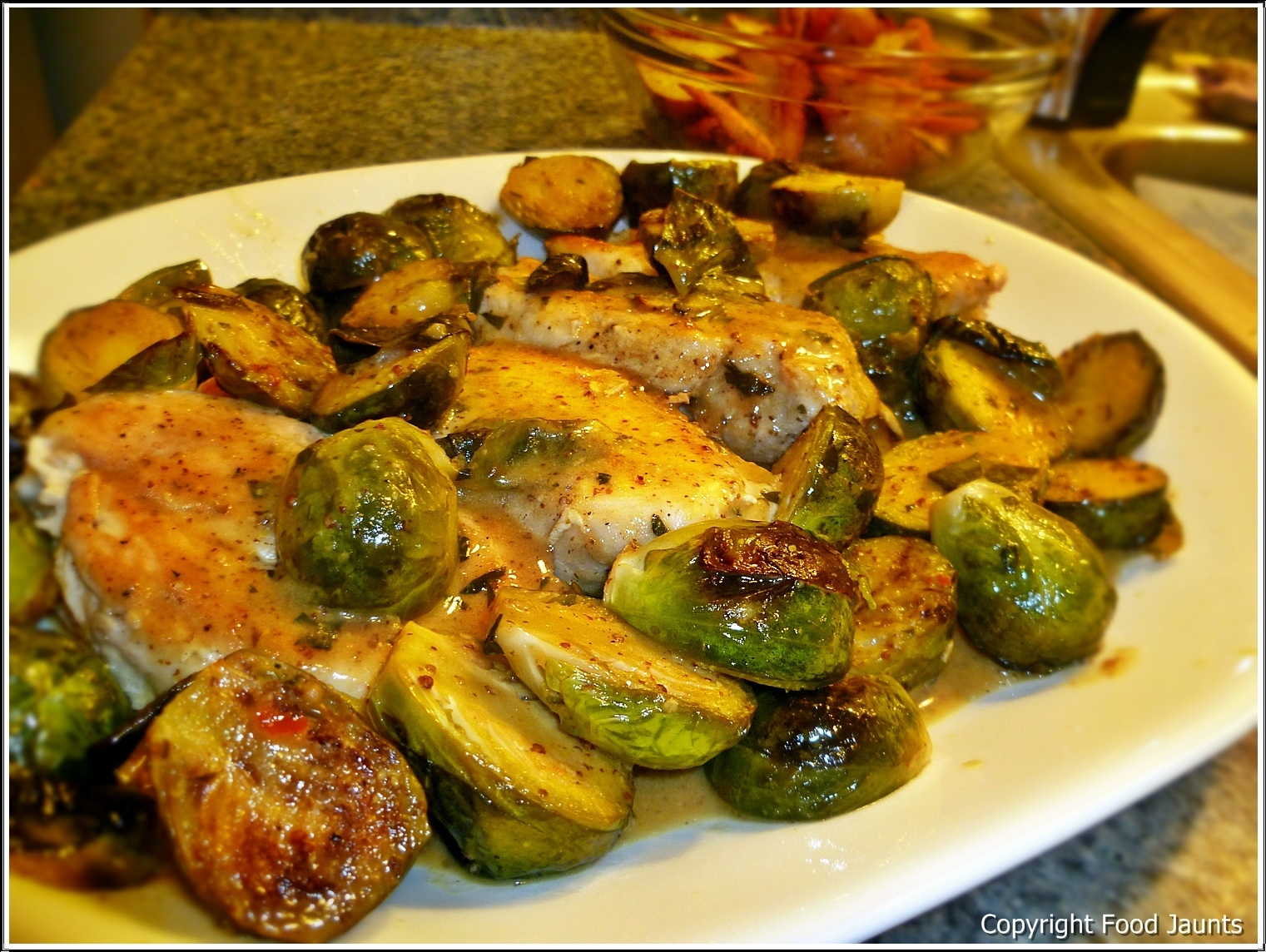 Chicken with Roasted Brussel Sprouts and Mustard Sauce