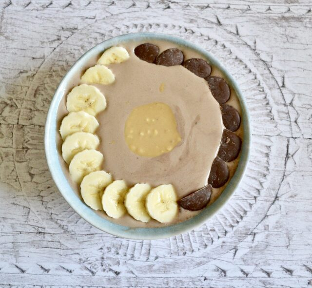 Gluten and Dairy Free Peanut Butter Cup Smoothie Bowl