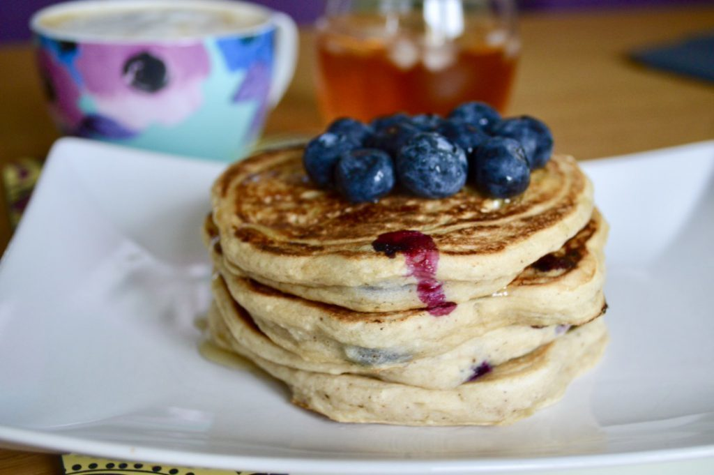 Gluten and Dairy Free Blueberry Cinnamon Pancakes