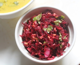 Beetroot Kosambari Recipe - Grated Beetroot & Moong Dal Salad Recipe
