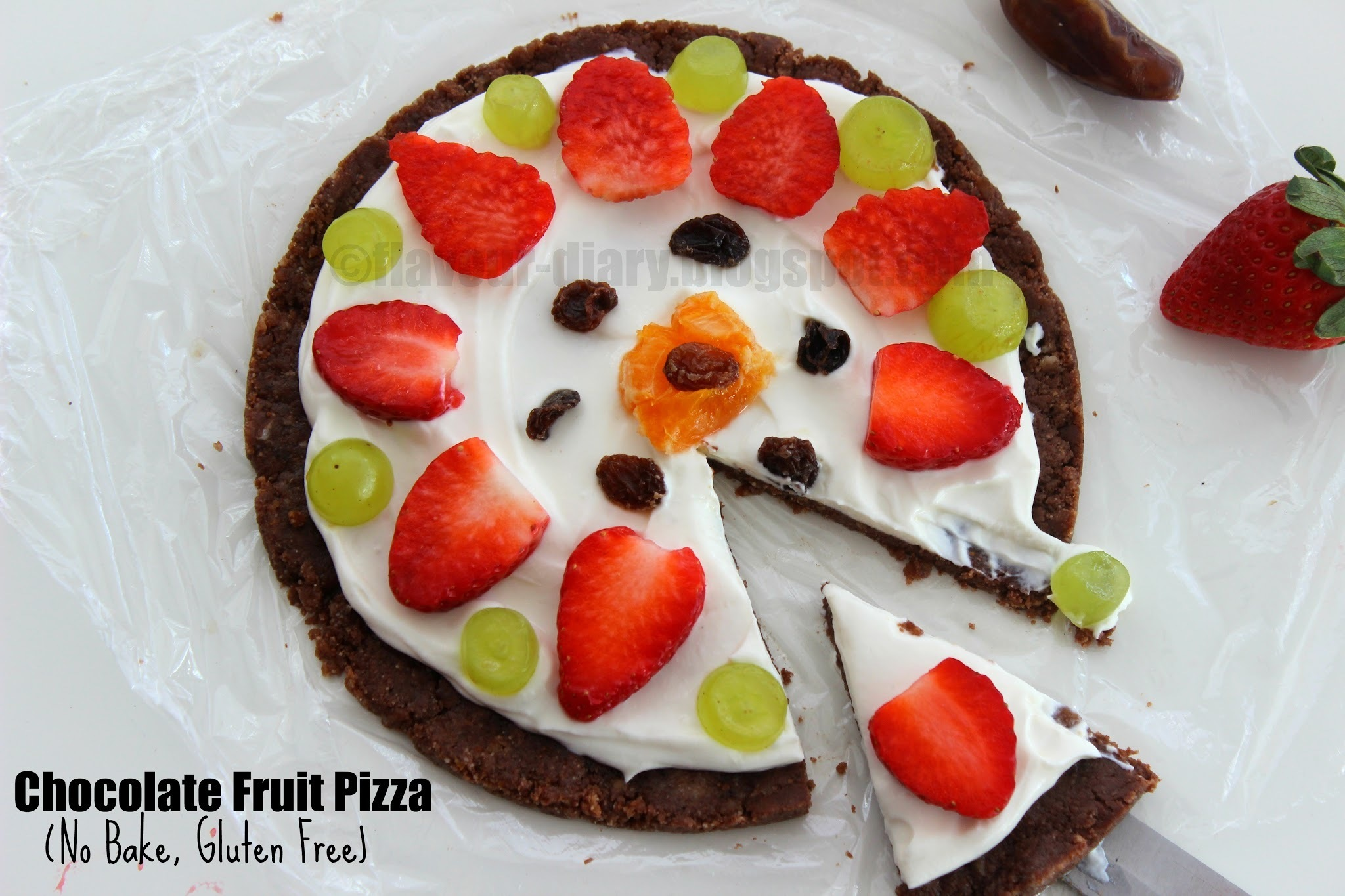 Healthy No Bake Chocolate Fruit Pizza | Healthy Recipe | Flavour Diary