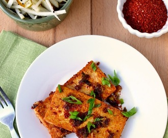 Spicy Korean Tofu with Pear Slaw for #Food of the World