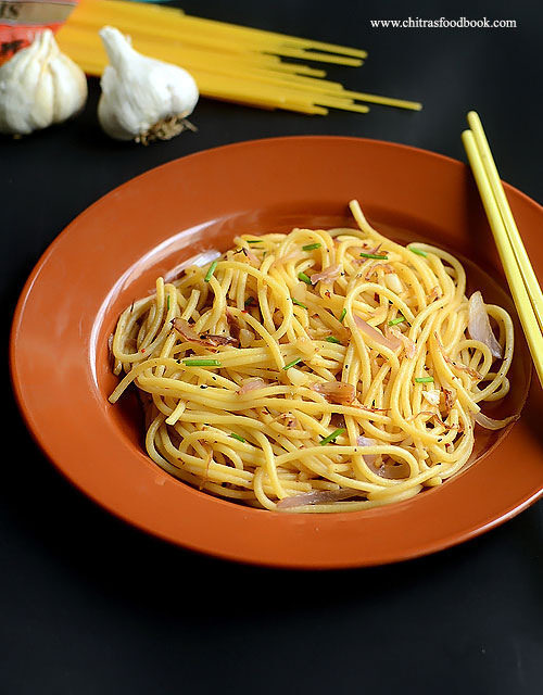 Easy Garlic Spaghetti Recipe – Indian Vegetarian